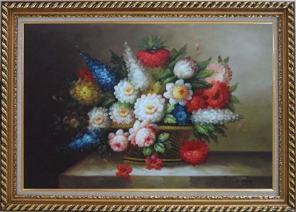 Framed Peony, Tulips, Roses, Delphiniums And Other Colorful Flowers Oil Painting Still Life Bouquet Classic Exquisite Gold Wood Frame 30 x 42 Inches