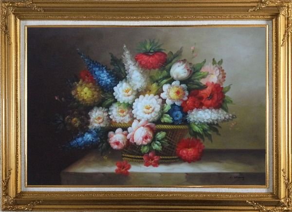 Framed Peony, Tulips, Roses, Delphiniums And Other Colorful Flowers Oil Painting Still Life Bouquet Classic Gold Wood Frame with Deco Corners 31 x 43 Inches