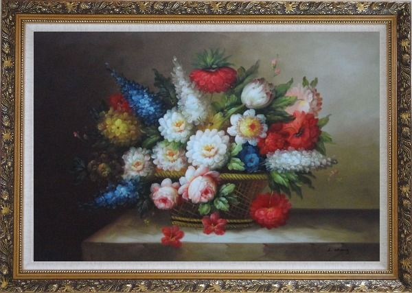 Framed Peony, Tulips, Roses, Delphiniums And Other Colorful Flowers Oil Painting Still Life Bouquet Classic Ornate Antique Dark Gold Wood Frame 30 x 42 Inches