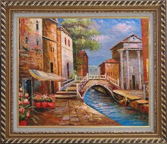 Framed Bridge Across Venice Street Oil Painting Italy Naturalism Exquisite Gold Wood Frame 26 x 30 Inches