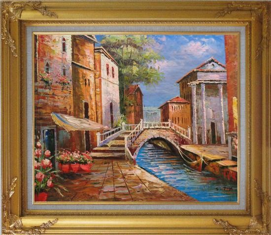 Framed Bridge Across Venice Street Oil Painting Italy Naturalism Gold Wood Frame with Deco Corners 27 x 31 Inches