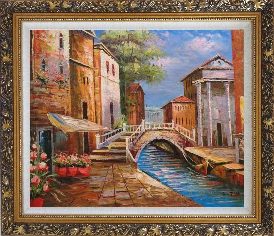 Framed Bridge Across Venice Street Oil Painting Italy Naturalism Ornate Antique Dark Gold Wood Frame 26 x 30 Inches