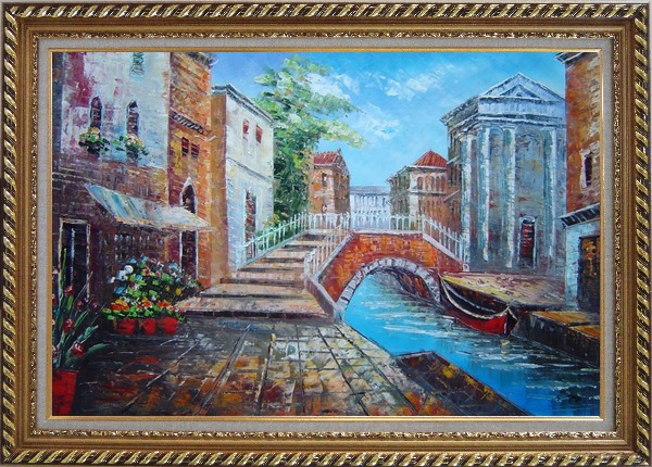 Framed Bridge Across Venice Street Oil Painting Italy Naturalism Exquisite Gold Wood Frame 30 x 42 Inches