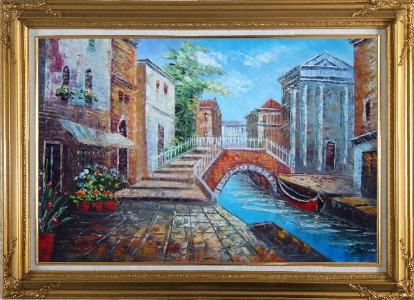 Framed Bridge Across Venice Street Oil Painting Italy Naturalism Gold Wood Frame with Deco Corners 31 x 43 Inches