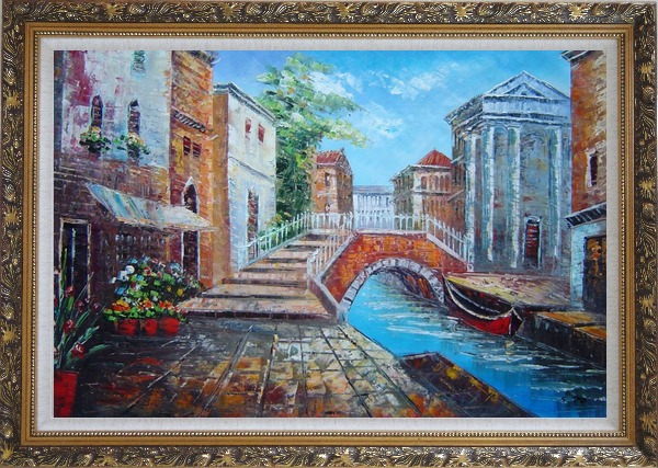 Framed Bridge Across Venice Street Oil Painting Italy Naturalism Ornate Antique Dark Gold Wood Frame 30 x 42 Inches