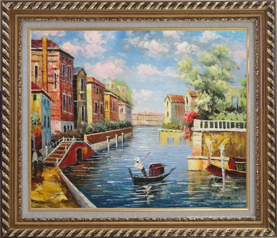 Framed Summer in Venice Oil Painting Italy Impressionism Exquisite Gold Wood Frame 26 x 30 Inches