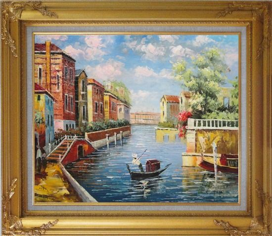 Framed Summer in Venice Oil Painting Italy Impressionism Gold Wood Frame with Deco Corners 27 x 31 Inches