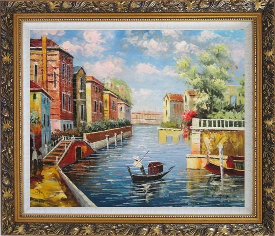 Framed Summer in Venice Oil Painting Italy Impressionism Ornate Antique Dark Gold Wood Frame 26 x 30 Inches