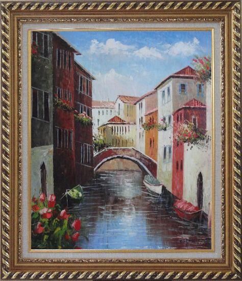 Framed Boats Docked On Canal, Venice, Italy Oil Painting Impressionism Exquisite Gold Wood Frame 30 x 26 Inches