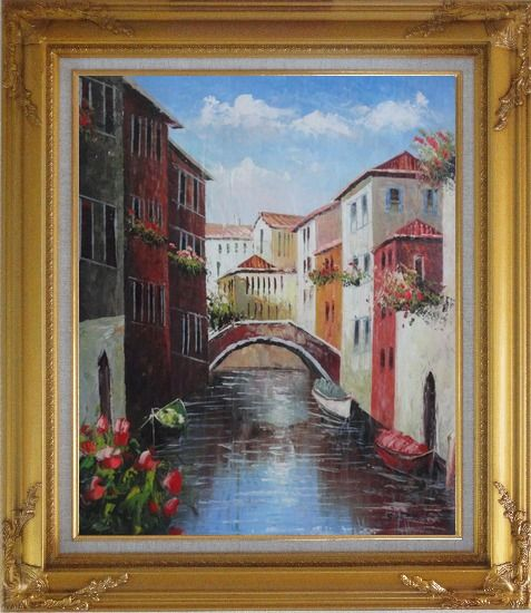 Framed Boats Docked On Canal, Venice, Italy Oil Painting Impressionism Gold Wood Frame with Deco Corners 31 x 27 Inches
