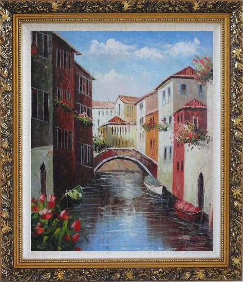 Framed Boats Docked On Canal, Venice, Italy Oil Painting Impressionism Ornate Antique Dark Gold Wood Frame 30 x 26 Inches