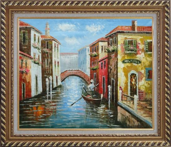 Framed The Afternoon of Venice Oil Painting Italy Naturalism Exquisite Gold Wood Frame 26 x 30 Inches
