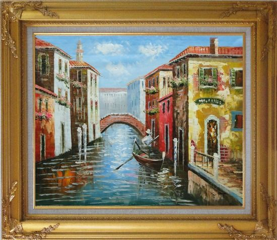 Framed The Afternoon of Venice Oil Painting Italy Naturalism Gold Wood Frame with Deco Corners 27 x 31 Inches