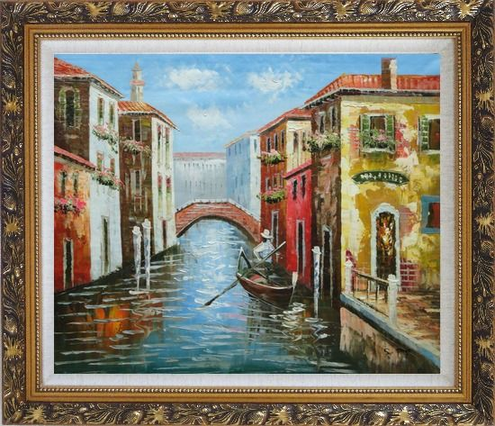 Framed The Afternoon of Venice Oil Painting Italy Naturalism Ornate Antique Dark Gold Wood Frame 26 x 30 Inches