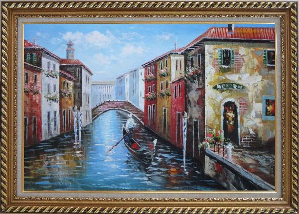 Framed The Afternoon of Venice Oil Painting Italy Naturalism Exquisite Gold Wood Frame 30 x 42 Inches