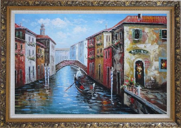 Framed The Afternoon of Venice Oil Painting Italy Naturalism Ornate Antique Dark Gold Wood Frame 30 x 42 Inches