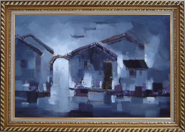 Framed Water Town in Dark Oil Painting Village China Asian Exquisite Gold Wood Frame 30 x 42 Inches