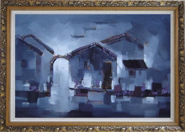 Framed Water Town in Dark Oil Painting Village China Asian Ornate Antique Dark Gold Wood Frame 30 x 42 Inches
