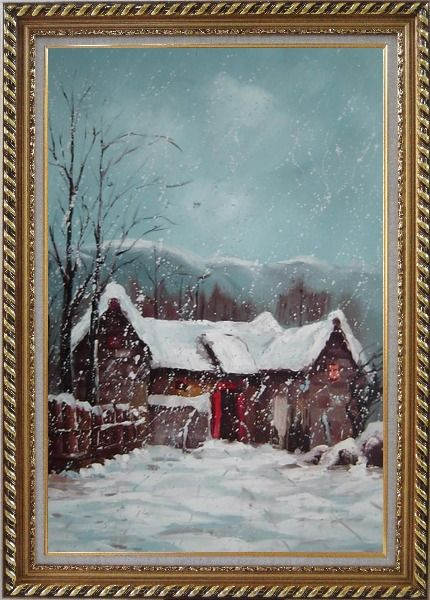 Framed Cottage in Winter White Falling Snow Oil Painting Village Classic Exquisite Gold Wood Frame 42 x 30 Inches