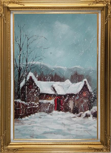 Framed Cottage in Winter White Falling Snow Oil Painting Village Classic Gold Wood Frame with Deco Corners 43 x 31 Inches