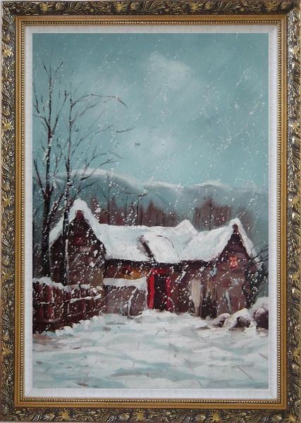 Framed Cottage in Winter White Falling Snow Oil Painting Village Classic Ornate Antique Dark Gold Wood Frame 42 x 30 Inches