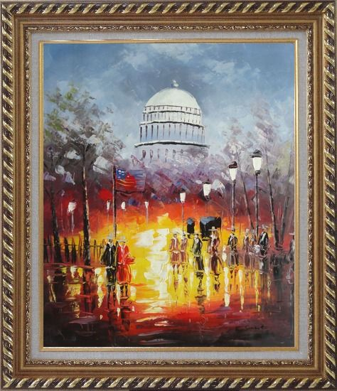 Framed Washington DC at Dusk in Winter Oil Painting Cityscape America Impressionism Exquisite Gold Wood Frame 30 x 26 Inches
