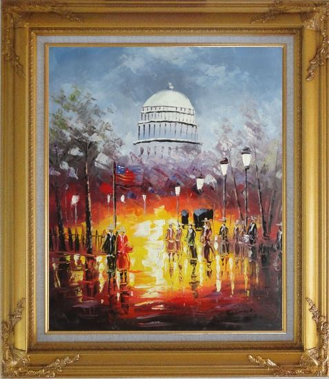 Framed Washington DC at Dusk in Winter Oil Painting Cityscape America Impressionism Gold Wood Frame with Deco Corners 31 x 27 Inches