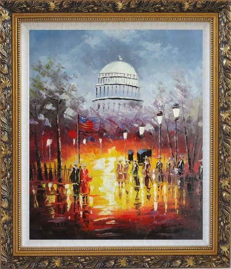 Framed Washington DC at Dusk in Winter Oil Painting Cityscape America Impressionism Ornate Antique Dark Gold Wood Frame 30 x 26 Inches