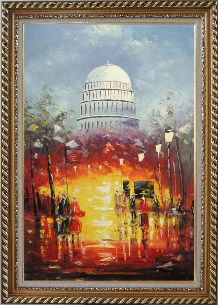Framed Washington DC at Dusk in Winter Oil Painting Cityscape America Impressionism Exquisite Gold Wood Frame 42 x 30 Inches