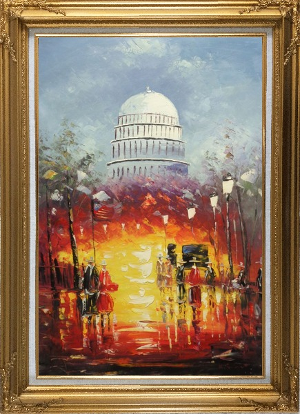 Framed Washington DC at Dusk in Winter Oil Painting Cityscape America Impressionism Gold Wood Frame with Deco Corners 43 x 31 Inches