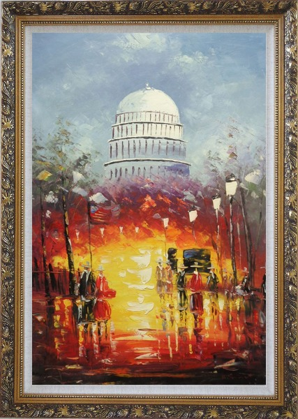 Framed Washington DC at Dusk in Winter Oil Painting Cityscape America Impressionism Ornate Antique Dark Gold Wood Frame 42 x 30 Inches