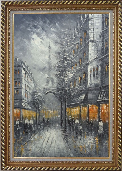 Framed People Stroll On Street Near Tour Eiffel In Black and White with Yellow Light Oil Painting Cityscape France Impressionism Exquisite Gold Wood Frame 42 x 30 Inches