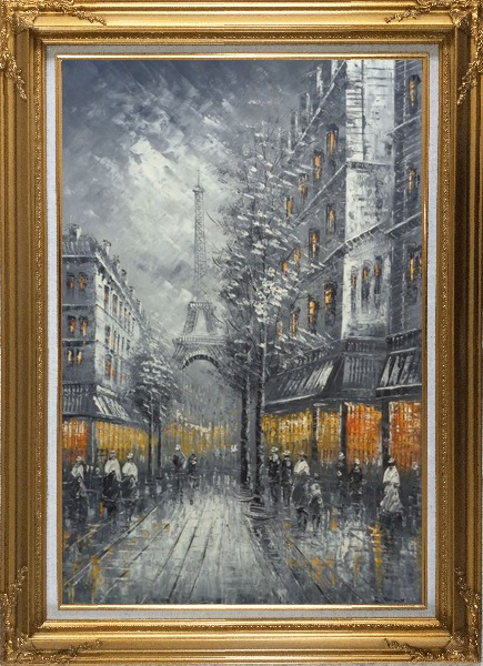 Framed People Stroll On Street Near Tour Eiffel In Black and White with Yellow Light Oil Painting Cityscape France Impressionism Gold Wood Frame with Deco Corners 43 x 31 Inches