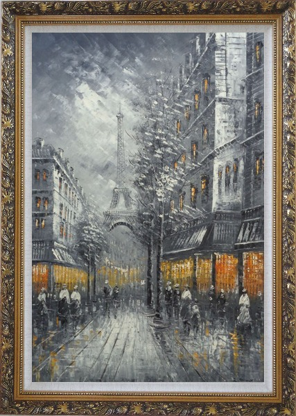 Framed People Stroll On Street Near Tour Eiffel In Black and White with Yellow Light Oil Painting Cityscape France Impressionism Ornate Antique Dark Gold Wood Frame 42 x 30 Inches