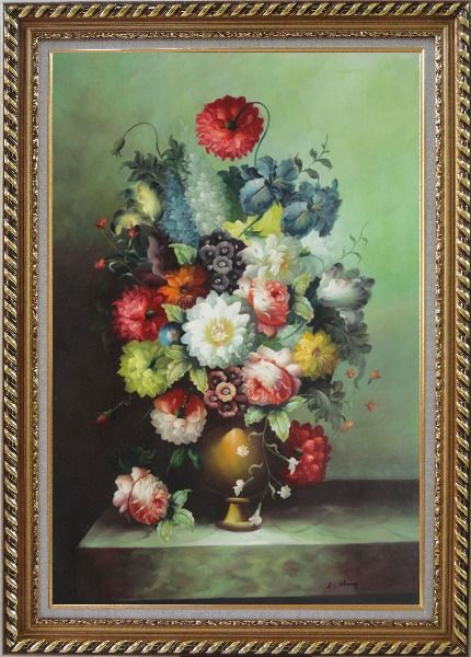 Framed Still Life With Colorful Flowers In Vase Oil Painting Bouquet Classic Exquisite Gold Wood Frame 42 x 30 Inches