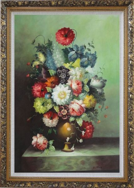 Framed Still Life With Colorful Flowers In Vase Oil Painting Bouquet Classic Ornate Antique Dark Gold Wood Frame 42 x 30 Inches