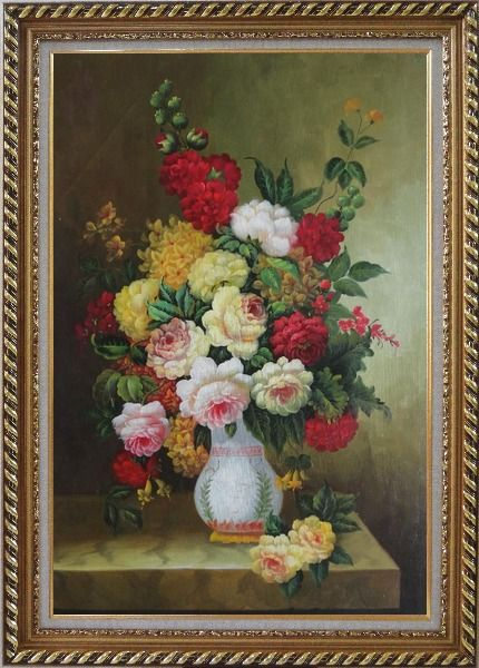 Framed Bouquet of Flowers Autumn in White Vase Oil Painting Still Life Classic Exquisite Gold Wood Frame 42 x 30 Inches