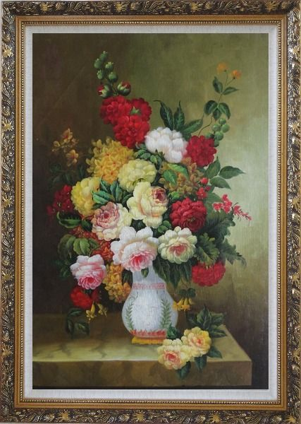 Framed Bouquet of Flowers Autumn in White Vase Oil Painting Still Life Classic Ornate Antique Dark Gold Wood Frame 42 x 30 Inches