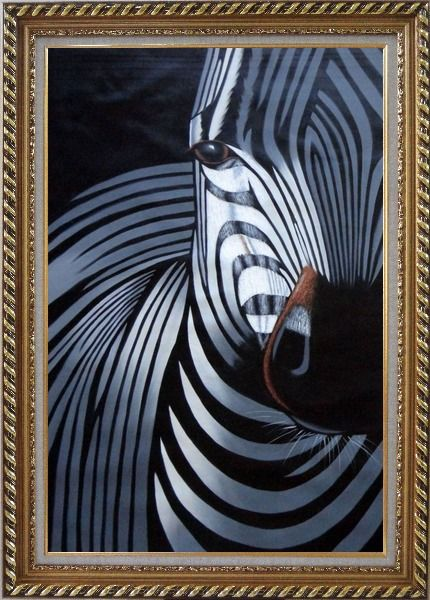 Framed Black and White Zebra I Oil Painting Animal Decorative Exquisite Gold Wood Frame 42 x 30 Inches
