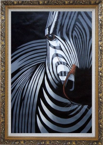Framed Black and White Zebra I Oil Painting Animal Decorative Ornate Antique Dark Gold Wood Frame 42 x 30 Inches