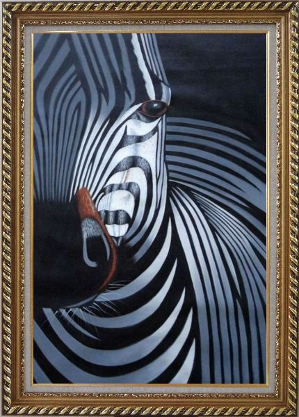 Framed Black and White Zebra II Oil Painting Animal Decorative Exquisite Gold Wood Frame 42 x 30 Inches