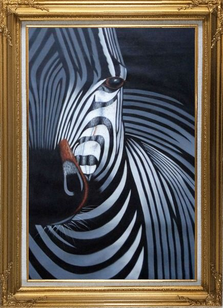 Framed Black and White Zebra II Oil Painting Animal Decorative Gold Wood Frame with Deco Corners 43 x 31 Inches
