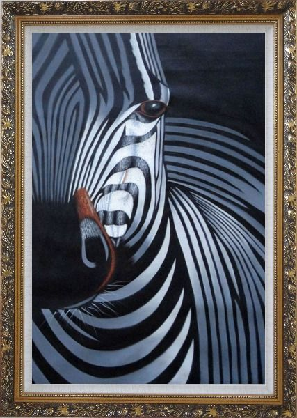 Framed Black and White Zebra II Oil Painting Animal Decorative Ornate Antique Dark Gold Wood Frame 42 x 30 Inches