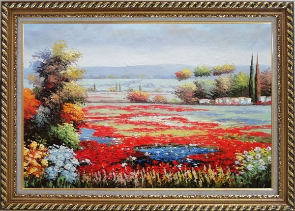 Framed Red And Purple Flower Field in Tuscany of Italy Oil Painting Landscape Naturalism Exquisite Gold Wood Frame 30 x 42 Inches