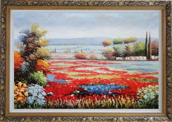 Framed Red And Purple Flower Field in Tuscany of Italy Oil Painting Landscape Naturalism Ornate Antique Dark Gold Wood Frame 30 x 42 Inches