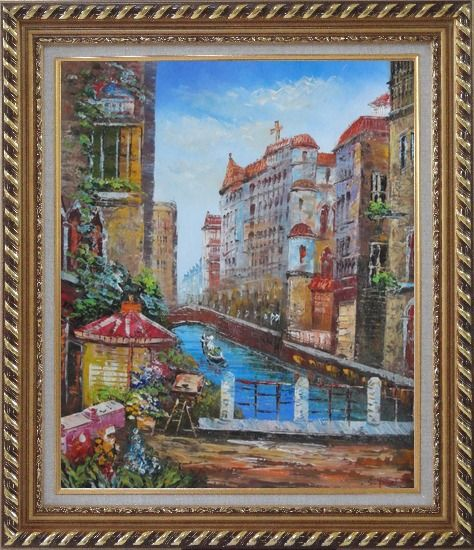 Framed Pleasant Venice Garden And Canal At Noon Oil Painting Italy Impressionism Exquisite Gold Wood Frame 30 x 26 Inches
