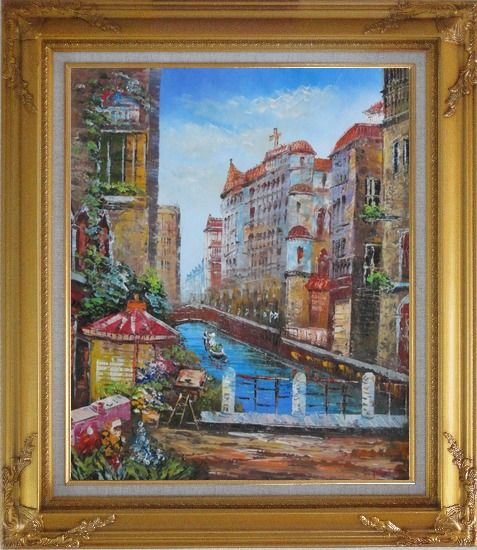 Framed Pleasant Venice Garden And Canal At Noon Oil Painting Italy Impressionism Gold Wood Frame with Deco Corners 31 x 27 Inches