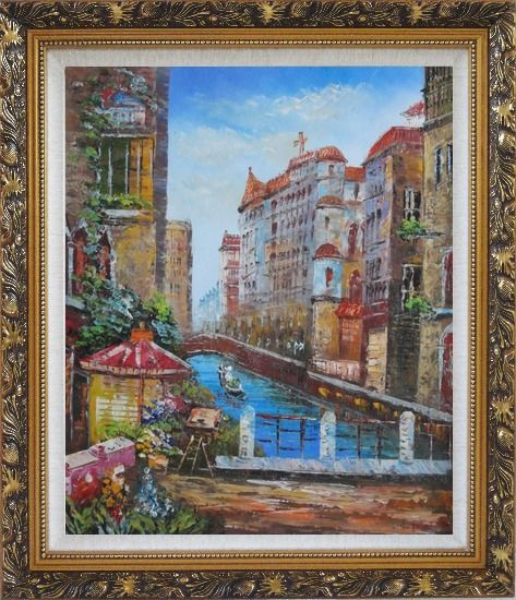 Framed Pleasant Venice Garden And Canal At Noon Oil Painting Italy Impressionism Ornate Antique Dark Gold Wood Frame 30 x 26 Inches