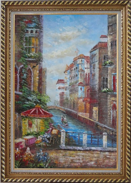 Framed Pleasant Venice Garden And Canal At Noon Oil Painting Italy Impressionism Exquisite Gold Wood Frame 42 x 30 Inches