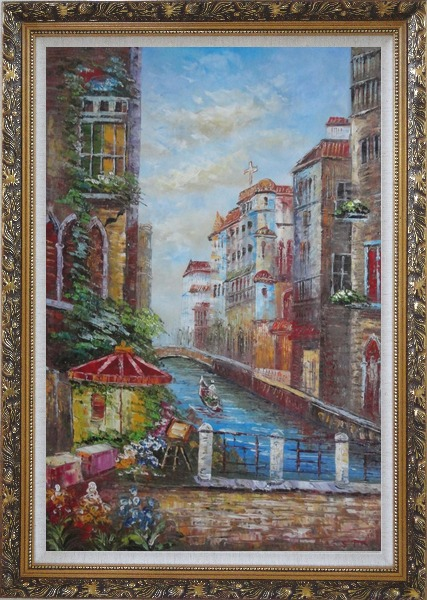 Framed Pleasant Venice Garden And Canal At Noon Oil Painting Italy Impressionism Ornate Antique Dark Gold Wood Frame 42 x 30 Inches
